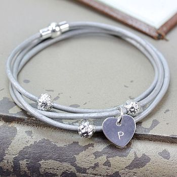 Grey with initialised sterling silver heart