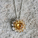 Gilded Silver Golden Citrine Daisy Necklace