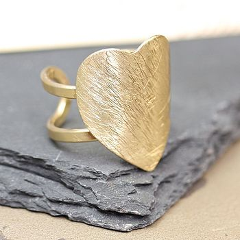 Brushed Gold Heart Ring