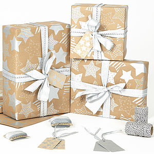Silver Stars Brown Christmas Wrapping Paper - ribbon & wrap
