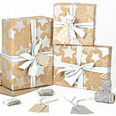 Silver Stars Brown Christmas Wrapping Paper
