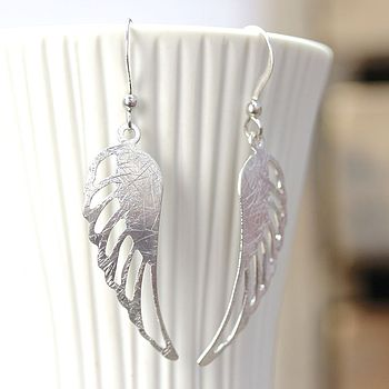 Brushed Silver Angel Wing Earrings