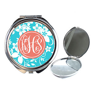 Personalised Compact Mirror Flower Design - compact mirrors