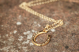 Gold Lucky Horseshoe Necklace - lucky charm jewellery