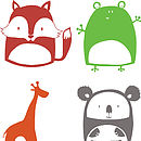 Fox, Frog, Giraffe and Koala options