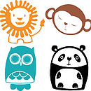 Lion, Monkey, Owl and Panda options