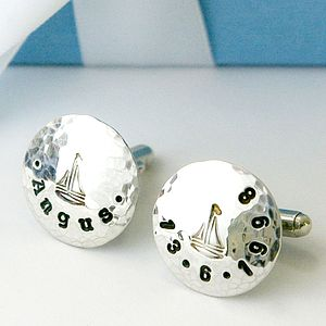 Personalised Silver Sailboat Cufflinks