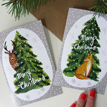 Six Mixed Fox And Deer Christmas Cards