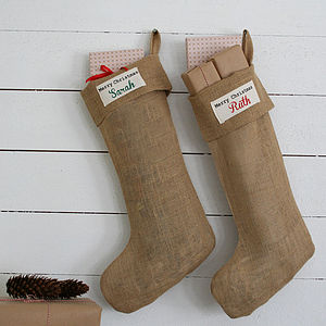Rustic Personalised Christmas Stocking - stockings & sacks