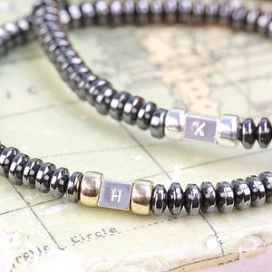 Personalised Men's Initial Hematite Bracelet - jewellery & cufflinks