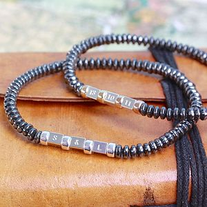 Men's Secret Message Hematite Bracelet - distinctive dad jewellery