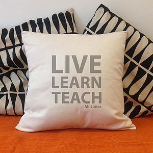 Personalised 'Live Learn Teach' Cushion - soft furnishings & accessories