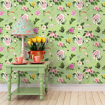 Self Adhesive Spring Green Floral Wallpaper