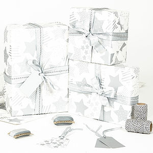 Silver Stars White Christmas Wrapping Paper - summer sale
