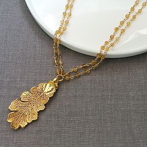 Gold Oak Leaf On Citrine Stone Necklace - necklaces & pendants
