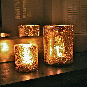 Two Golden Mercury Glass Tealight Holders - christmas lights