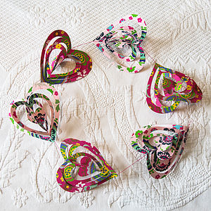 Cut Out Pink Indian Print Paper Heart Garland - outdoor decorations