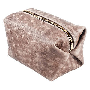 Ostrich Print Leather Cosmetic Purse