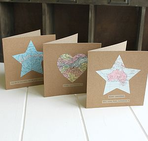 Personalised Vintage Map Cards - anniversary cards