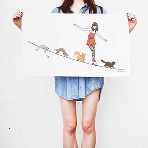 Girl And Cats On Tightrope Tea Towel - kitchen accessories