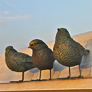 Three Little Bird Garden Sculptures - sculptures & ornaments