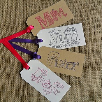 Two 'Mum', 'Sister' Or 'Daughter' Gift Tags