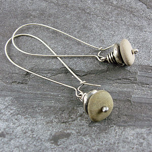 Beach Pebble And Silver Stack Earrings, Long - earrings