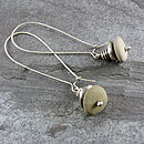 Beach Pebble And Silver Stack Earrings, Long