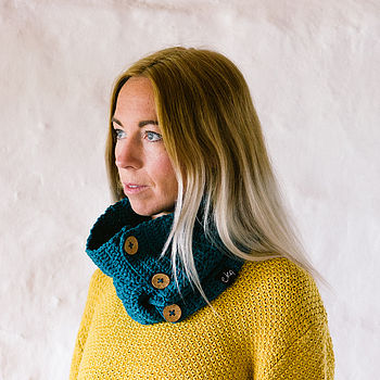 Teal Organic Cotton Cowl