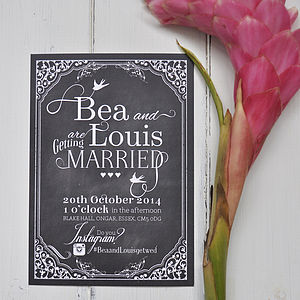 Hashtag Chalkboard Wedding Stationery Invite - wedding stationery
