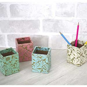 Recycled Floral Pen Pot - office & study