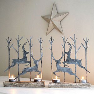 Leaping Reindeer Tealight Pair