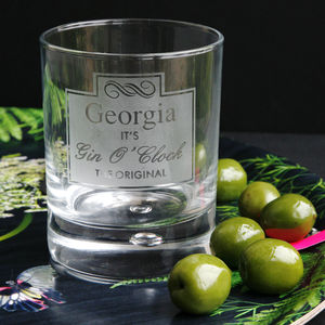 Personalised 'Gin O Clock' Etched Glass - gifts under £25