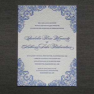 'Charlotte' Letterpress Wedding Stationery - save the date cards