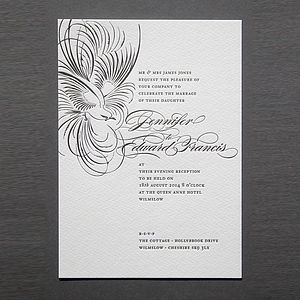 'Pluma' Letterpress Wedding Stationery - invitations