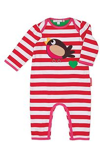 Christmas Robin Baby Romper - clothing