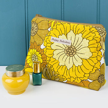 Make Up Bag Vintage Yellow Floral