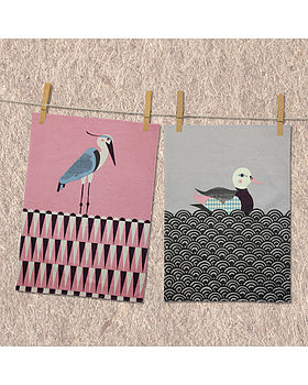 Pondliving T Towel - Duck and Heron