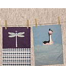 Pondliving T Towels - Dragonfly and Grebe