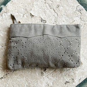Grey Suede Cut Out Make Up Bag - bags & purses