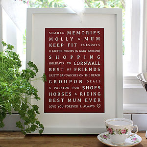 Shared Moments Mothers Day Print