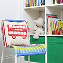 Cute Screen Printed London Bus Cushion