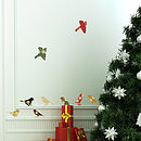 'Christmas Patterned Birds' Wall Stickers
