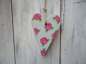 Floral Country Heart - hanging decorations
