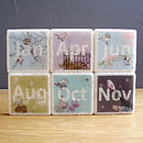 perpetual calendar, month tiles