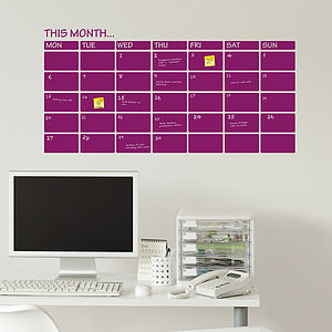 Write And Erase Monthly Planner Wall Sticker - wall stickers