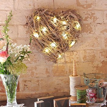 Hanging Root Heart With LED Lights