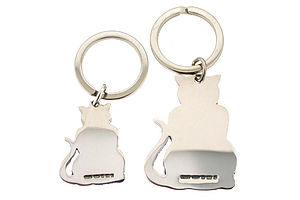 Personalised Silver Cat Keyring Free Engraving