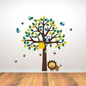 Bees, Birds And Lion Tree Wall Sticker - baby's room