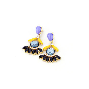 Blue Statement Drop Earrings